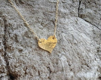 Tiny gold necklace, hammered heart, layering necklace, gold fill, tiny gold necklace, tiny heart, heart necklace, gold heart necklace