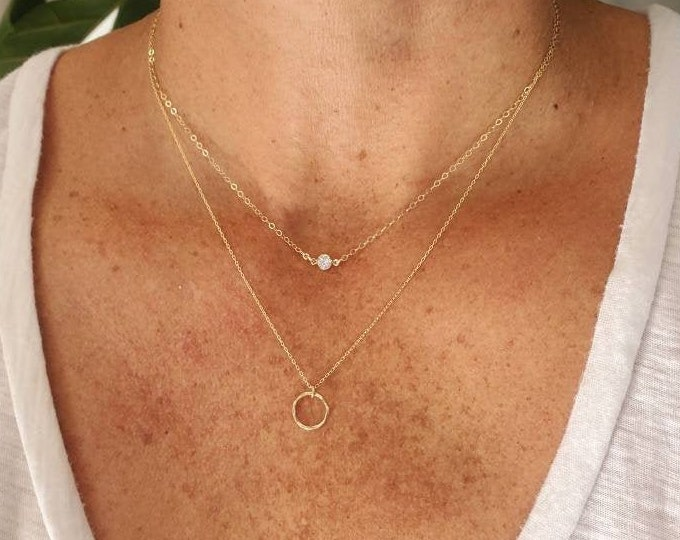 Double Necklace Set, Set of 2, Gold, Silver, Two Necklaces, Layering Necklaces, Necklace Set, Layered Set, Delicate, Dainty, Minimalist