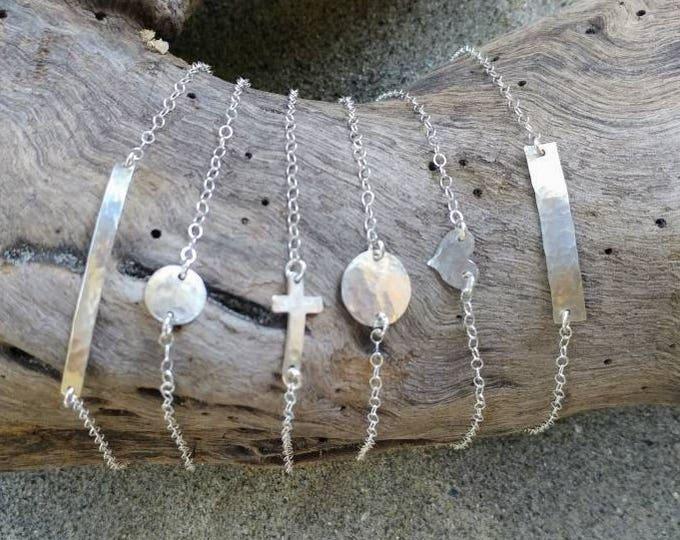 Tiny Silver Bracelet, Sterling Silver, Layering Bracelet, Heart, Cross, Circle, Bar, Bracelet, Hammered, Dainty Silver Bracelet
