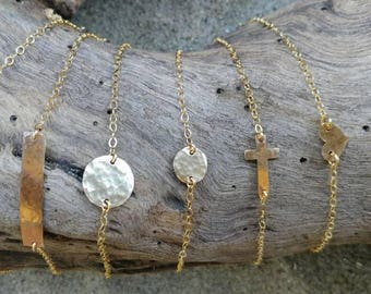 Gold Bracelet, Layering Bracelet, Tiny Bracelet, Hammered,Gold, Bar, Heart, Circle, Cross, Hammered Bracelet, Tiny Gold Bracelet