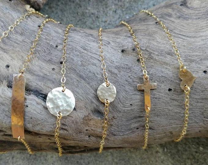 Gold Bracelet, Layering Bracelet, Tiny Bracelet, Hammered,Gold, Bar, Heart, Circle, Cross, Hammered Bracelet, Tiny Gold Bracelet