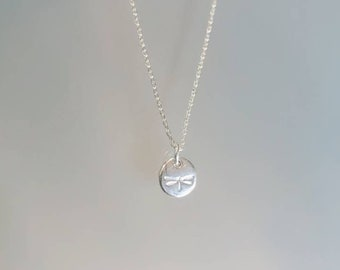 Tiny Sterling Silver Dragonfly Necklace, Dainty, Silver Dragonfly Necklace, Sterling Silver, Nature, Dragonfly Necklace, Tiny, Small