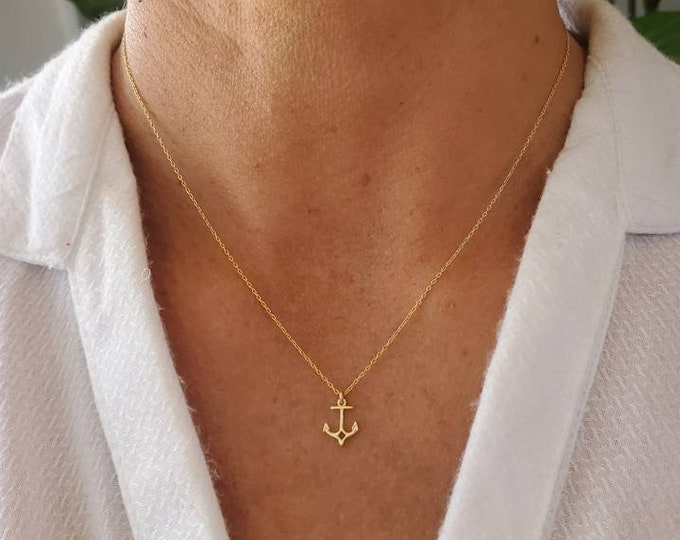 Tiny Gold Anchor Necklace, Gold Vermeil, Anchor Pendant, Gold Anchor, Dainty, Delicate, Beach, Nautical, Boat, Sailing, Ocean, Necklace