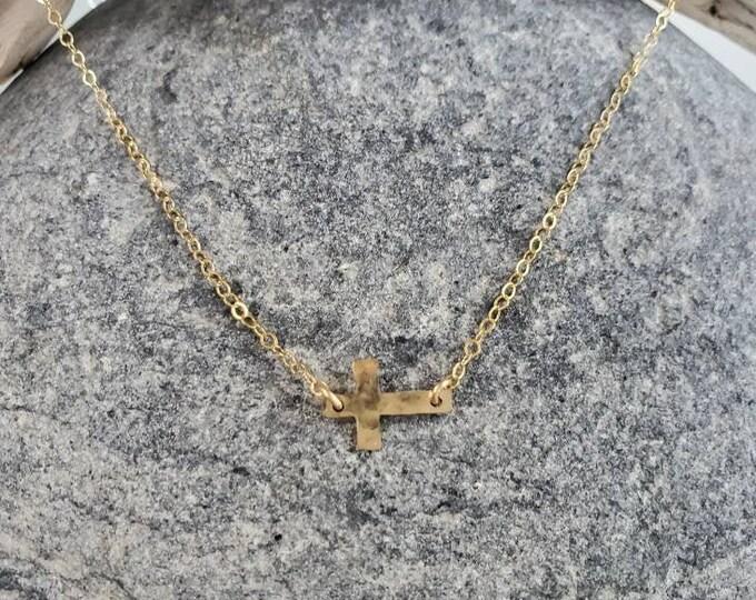 Tiny Gold Cross Necklace, Cross Necklace, 14k Gold Fill, Gold Cross, Tiny, Gold Cross Necklace , Sideways Cross Necklace, Dainty, Delicate