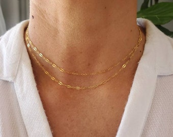 Double Layer Sparkle Chain, Gold, Silver, Layering Necklace, Necklace Set, Layered, Set, Delicate, Dainty, Minimalist, Choker, Double