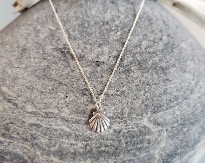 Tiny Shell Necklace, Sterling Silver, Clam Shell, Silver Shell Necklace, Dainty, Shell,  Necklace, Ocean, Beach, Clam, Layering Necklace