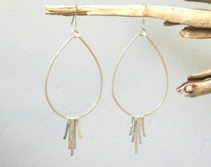Sterling Silver Fringe Earrings, Silver Hoops, Hammered Earrings, Fringe Earrings, Teardrop Earrings, silver or gold