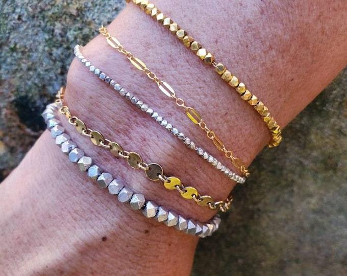 Minimalist Bracelets, Womens Bracelet, Layering Bracelet, Sterling Silver, Gold, Dainty Bracelet, Stacking Bracelet, Chain, Silver, Bracelet