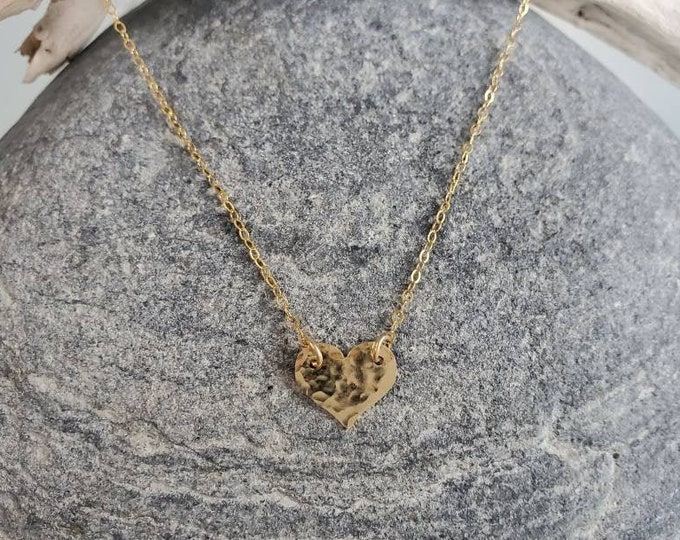 Small gold necklace, hammered heart, layering necklace, 14k gold fill, dainty gold necklace, tiny heart, heart necklace, gold heart necklace
