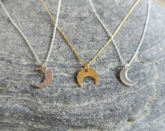 Tiny Sterling Silver or Gold Filled Moon Necklace, Hammered, or, Smooth, Crescent, Waxing, Waning, Dainty Necklace, Tiny moon Necklace