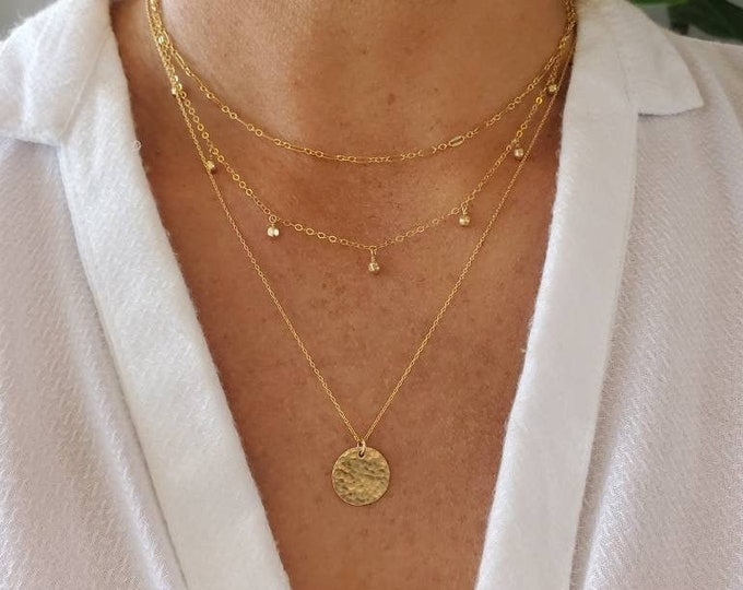 Dainty Layered Necklace Set, Set of 3, Gold, Silver, Three Necklaces, Layering Necklaces, Necklace Set, Layered Set, Dainty, Minimalist