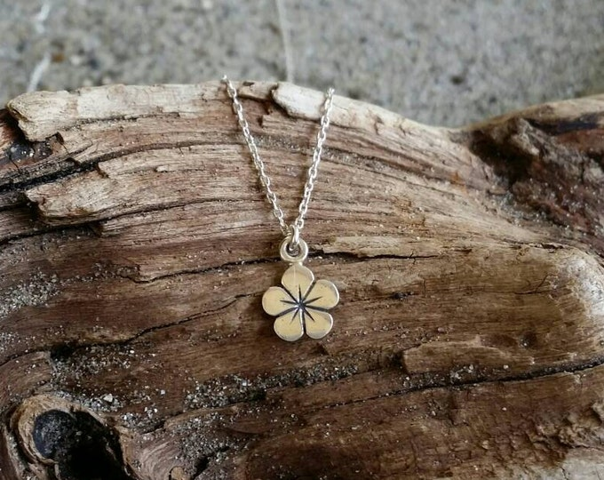 Sterling Silver Hibiscus Necklace, Flower, Plumeria, Silver Necklace, Flower Necklace, Tiny Silver Necklace, Dainty