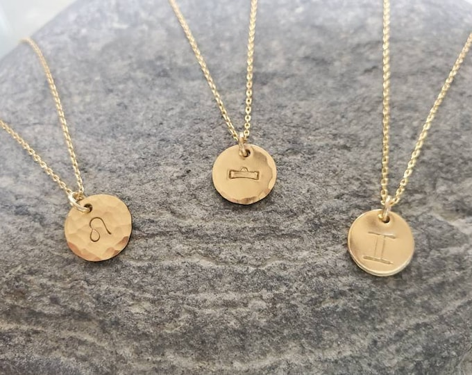 Tiny Hammered Zodiac Necklace, Gold Fill, Birthday Gift, Gold Necklace, Gold Zodiac Necklace, Star Sign, Birthday Necklace, Gift, Hammered
