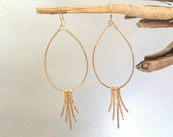 Gold Fringe Earrings, Silver Hoops, Hammered Earrings, Fringe Earrings, Teardrop Earrings, silver or gold