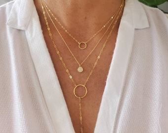 Layered Necklace Set, Set of 3, Gold, Silver, Three Necklaces, Layering Necklaces, Necklace Set, Layered Set, Delicate, Dainty, Minimalist