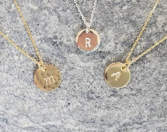 Tiny Monogram Necklace, Hammered, Initial Necklace, Gold Fill, Sterling Silver, Personalized, Letter, Name, Circle, Dainty Necklace, Coin