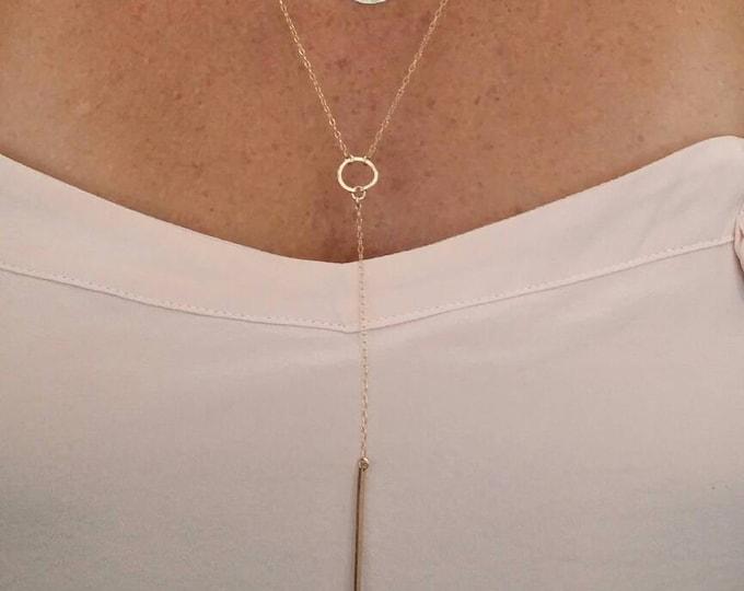 Elegant Y Necklace, Simple Necklace, Layering Necklace, Long,  Dressy Necklace, Y Necklace, Gold, Silver