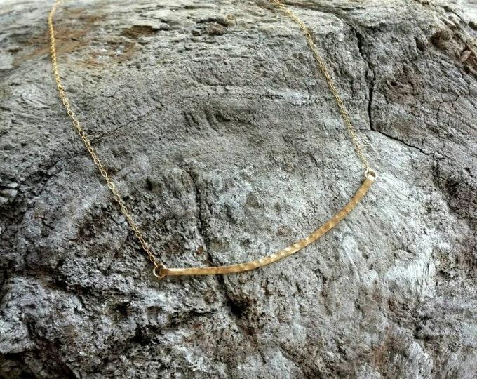 Large Hammered Bar Necklace, Gold Hammered Necklace, Hammered Bar, Curved Bar Necklace, Large, Gold, Silver