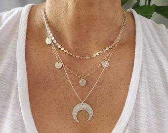 Layered Necklace Set, Moon, Set of 3, Gold, Silver, Three Necklaces, Layering Necklaces, Necklace Set, Layered Set, Dainty, Minimalist,