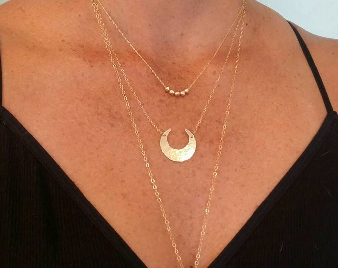 Large Gold Moon Necklace, Crescent Moon, Gold Necklace, Gold Moon, Hammered, Moon Necklace, Chunky Necklace