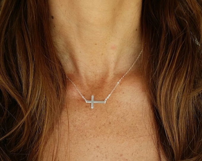 Sideways Sterling Cross Necklace, Cross Pendant, Sterling Silver Cross