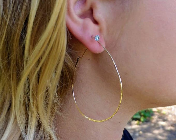 Gold Fill, or, Sterling Silver, Hoop Earrings, Hammered Hoops, Hoop Earrings, Hammered Earrings, Silver, Earrings, Teardrop, Dainty Hoops