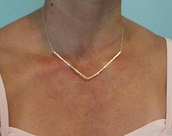 Extra Large Hammered V Bar Necklace, Gold Hammered Necklace, Hammered Bar, Chevron Necklace, Large, Gold, Silver