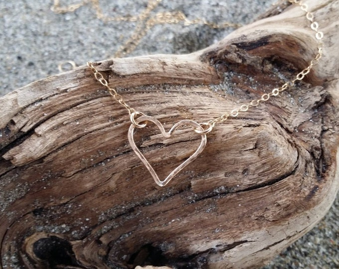 Gold Heart Necklace, Tiny Heart, Open Heart, Gold Heart, Hammered heart, Dainty Necklace