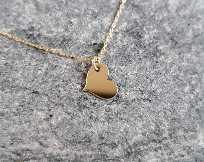 Dainty Gold Heart Necklace, 14k Gold Fill, Gold Heart, Layering Necklace, Tiny Heart Necklace, Tiny Heart, Gold Heart Necklace, Dainty