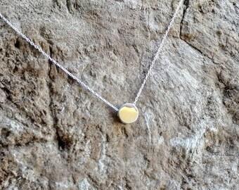 Tiny Silver necklace, Dot, Tiny Circle, Sterling Silver, tiny necklace, tiny charm necklace, Dainty, Tiny Silver Necklace, Everday necklace