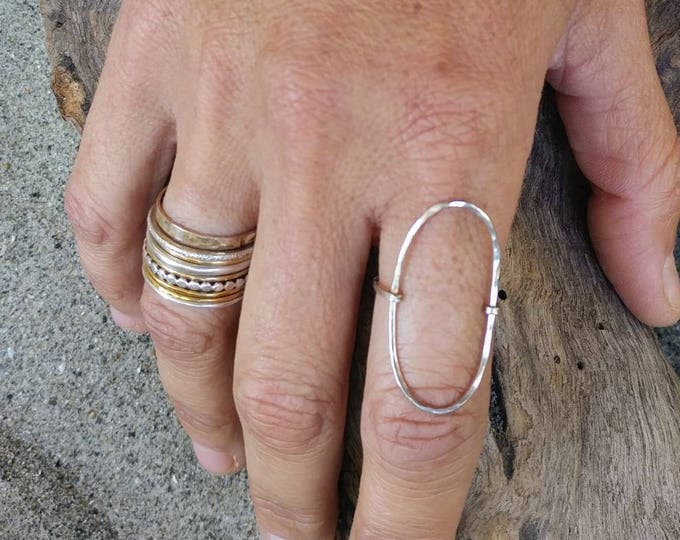 Large Oval Ring, Hammered, Simple,  Ring, Sterling Silver, Circle Ring, Dainty, Silver Ring