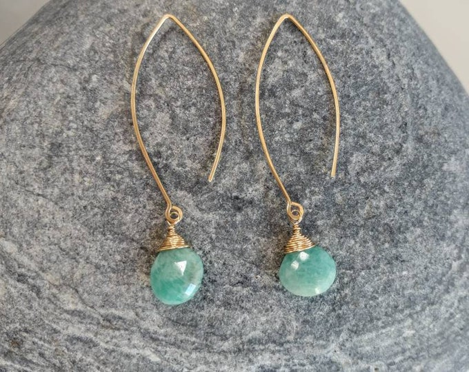 Gemstone Drop Earring, Amazonite, 14k Gold Fill, Sterling Silver, Earrings, Gemstone Earrings, Earrings, Dangle, Dainty