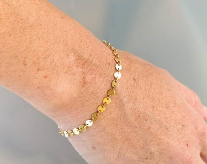 Gold Bracelet, Sequin Chain, Tiny Circle, Dainty Bracelet, Gold, Silver, Chain, Circle, Bracelet, Dainty, Delicate