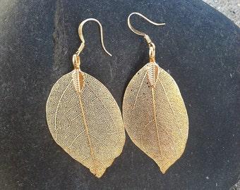 Real Leaf Earrings, Gold Dipped Leaf Earrings