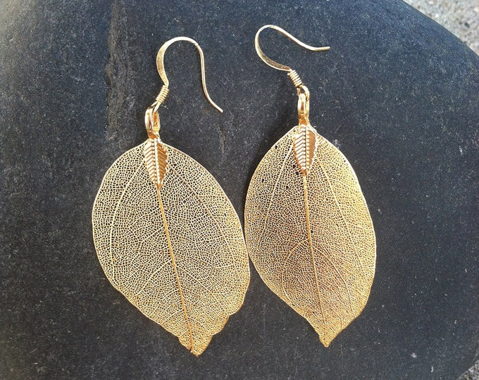 Genuine Leaf Earrings, Gold Leaf Earrings, Real Leaf, Earrings, Leaf Earrings, Gold Plated