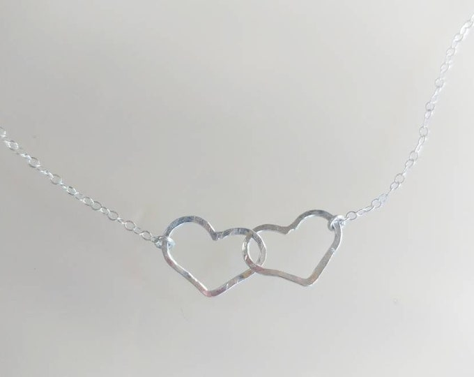 Double Heart Necklace, Sterling Silver, Small Heart Necklace, Silver Heart Necklace, Gold Heart Necklace, Mixed Metal, Gold and silver heart