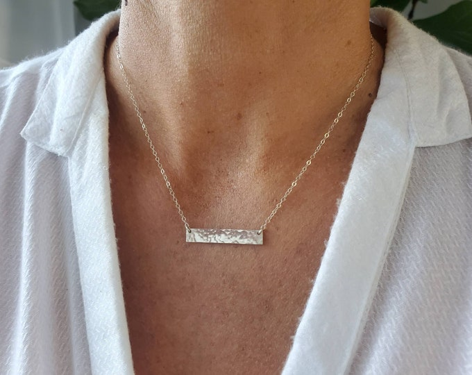 Silver Bar Necklace, Wide Bar, Hammered, Sterling Silver, Necklace, Simple, Layering Necklace, Silver Necklace, Bar Necklace, Minimalist