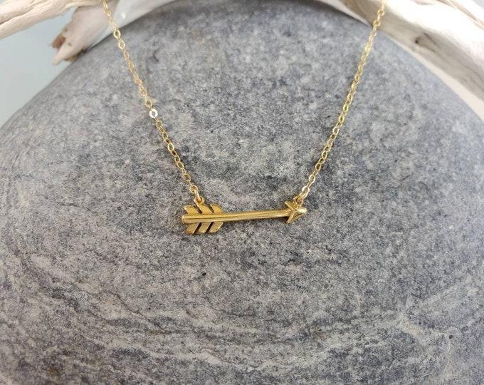 Tiny Gold Arrow Necklace, layering necklace, 24k Gold Vermeil, tiny gold necklace, tiny charm necklace, Tiny Arrow