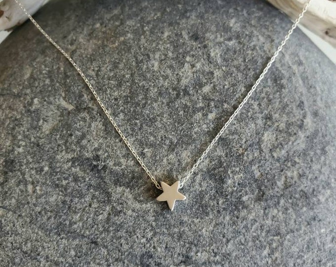 Matte Silver Star Necklace, Tiny Star Pendant, Silver Star Necklace