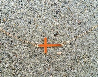 Sideways Gold Cross Necklace, Cross Pendant, Gold Fill Cross
