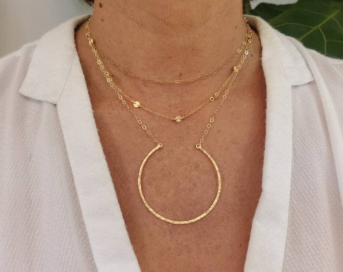 Large Open Circle Necklace, 14k Gold Fill, Sterling Silver, Open Circle Necklace, Circle Necklace, Circle, Dainty Necklace, Minimalist