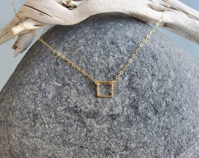 Teenie Tiny Gold necklace, Tiny Square, layering necklace, gold fill, tiny necklace, tiny charm necklace, Dainty, Tiny Gold Necklace