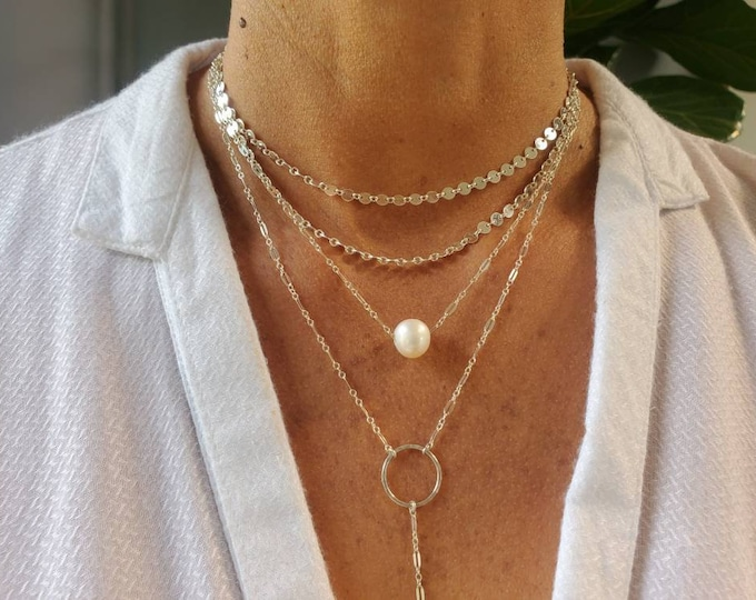 Freshwater Pearl Charm Necklace, Gold Fill or Sterling Silver Chain, Simple Necklace, Delicate Pearl Necklace, Dainty, Bridesmaid Necklace
