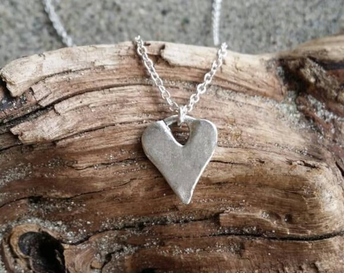 Silver Heart Necklace, Monogram Necklace, Initial Necklace, Rustic Heart, Silver necklace, Small Heart Necklace, Modern Heart