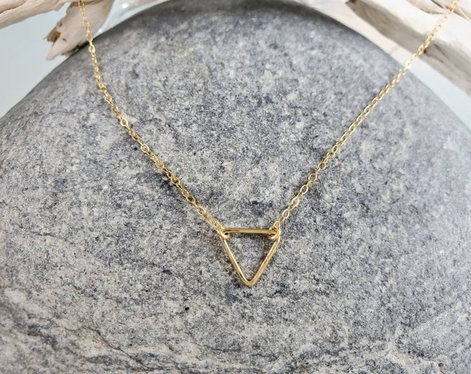 Dainty Gold Triangle Necklace, Tiny Triangle, Layering Necklace, Gold Fill, Tiny Necklace, Triangle Necklace, Dainty, Gold Necklace, Gold