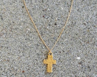 Tiny gold cross necklace, rustic cross, hammered cross, gold cross, gold necklace