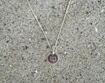 Tiny, Sterling Silver Zodiac Necklace, Birthday Sign Necklace, Simple, Silver Necklace, Birthday, Zodiac, Dainty