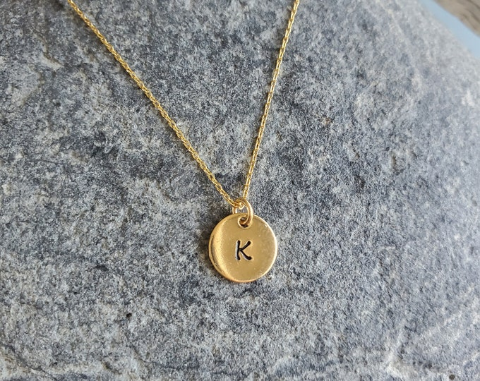 Gold Monogram Necklace, Initial Necklace, Tiny Gold Fill Round Charm, Gold Fill Chain