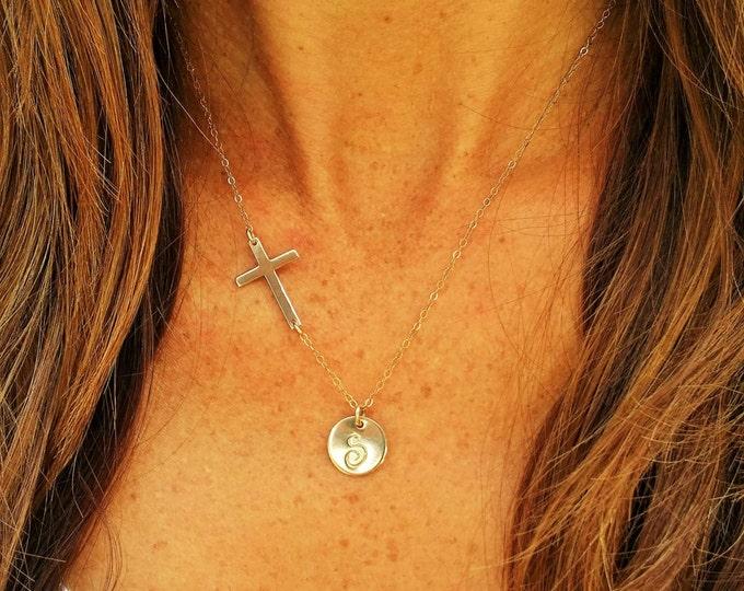 Gold Cross Monogram Necklace, Cross Pendant, Monogram