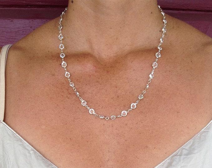 """Swarovski Crystal necklace, Bezel Crystal, Faceted Crystal, 24"""" necklace"""